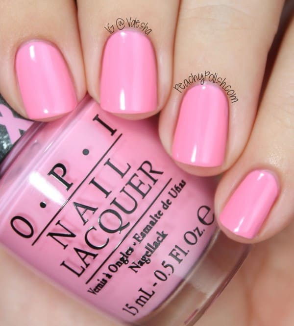 adorable Pink color nails on pale and light skin