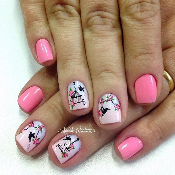baby pink nail design idea