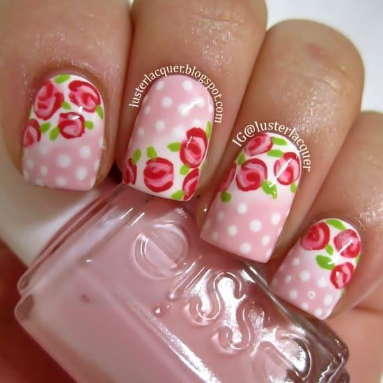 polka dot toothpick nail art