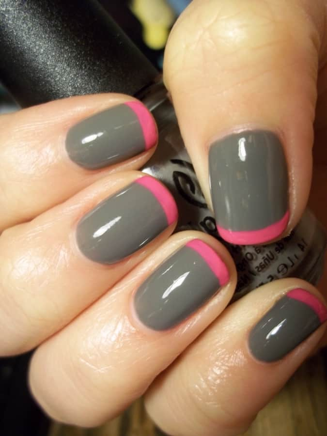 Grey edged pink two tone