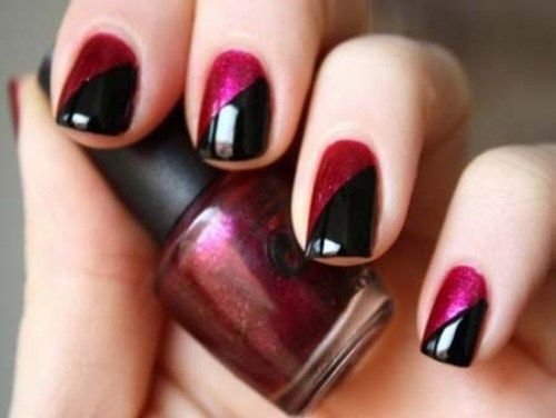 Black & Magenta Two tone nails
