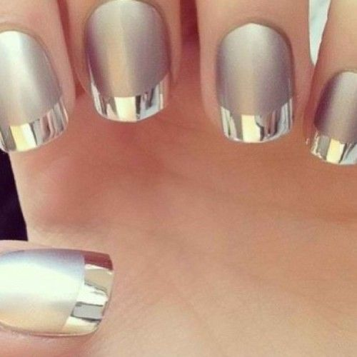 Chrome Two tone Nail design