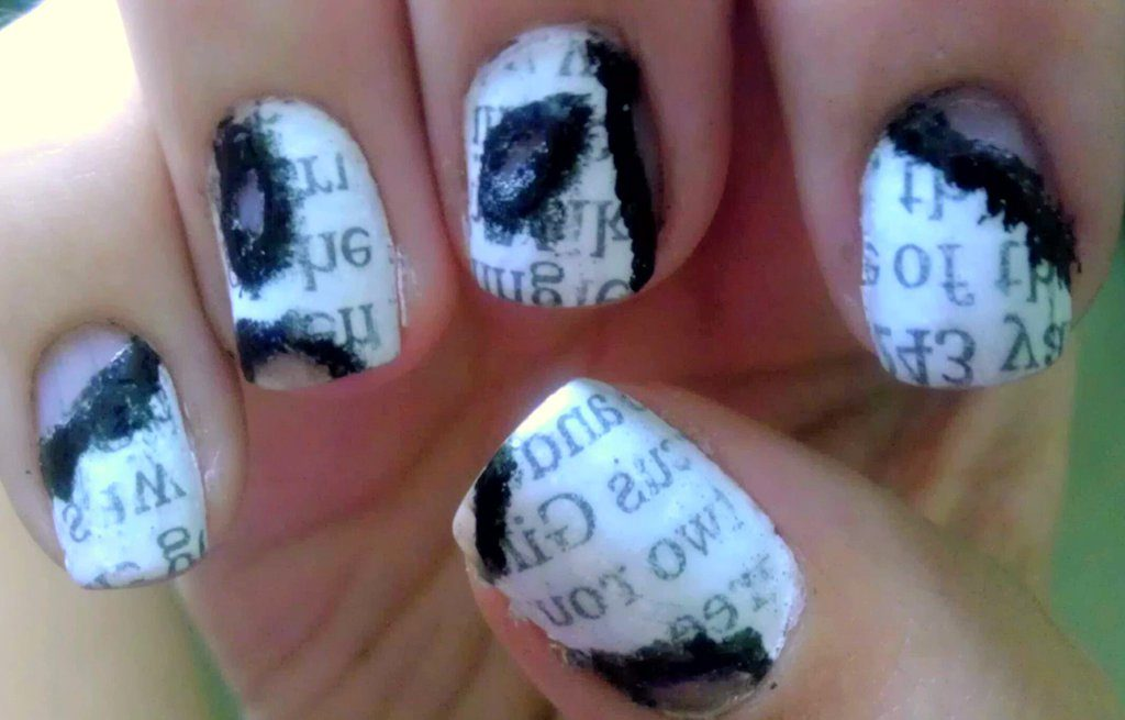burnt newspaper nails