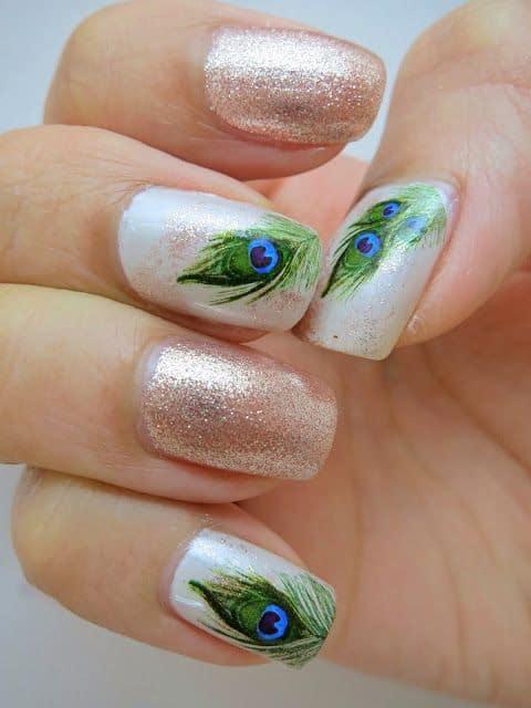 simple peacock nail design