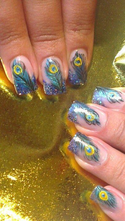 Glitter Peacock Nail Designs