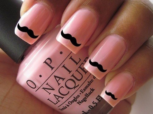 You can add glam to your pink baby nails by painting some cute mustaches on  them. Paint a mustache on every single nail to have this cute looking design . - 15 Baby Pink Nails That You Can Wear Right Now