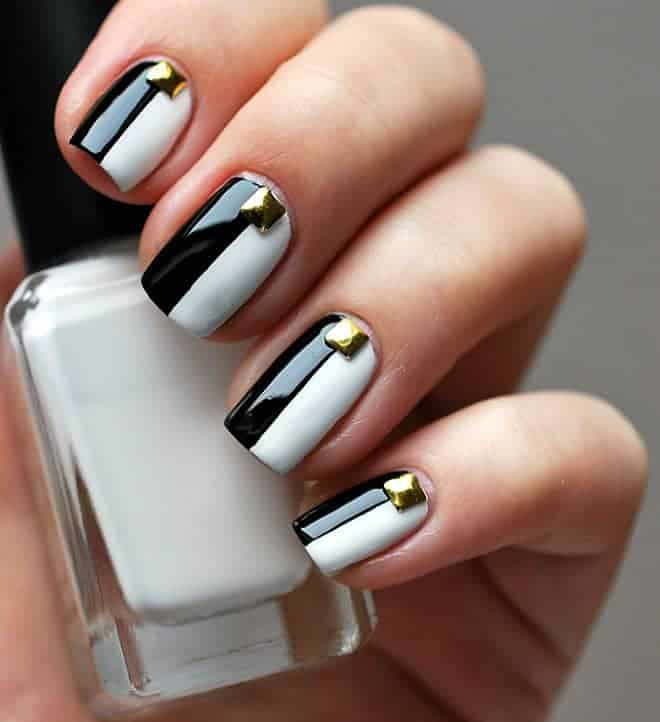 Black & white two tone nails with studs