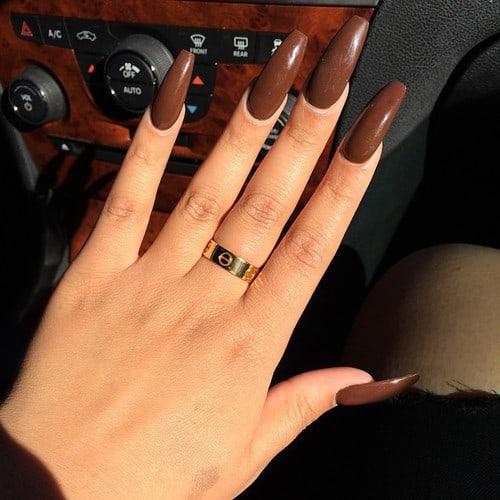 Brown color Coffin nail design