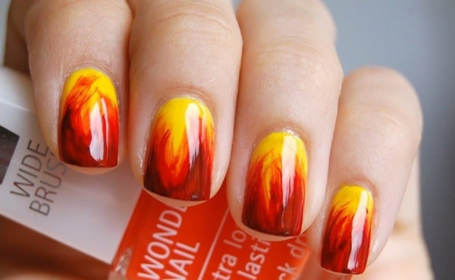Yellow And Orange Nail Designs