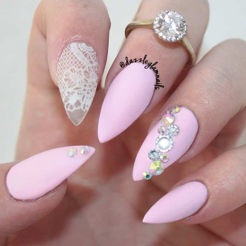 matte pink lace nail design