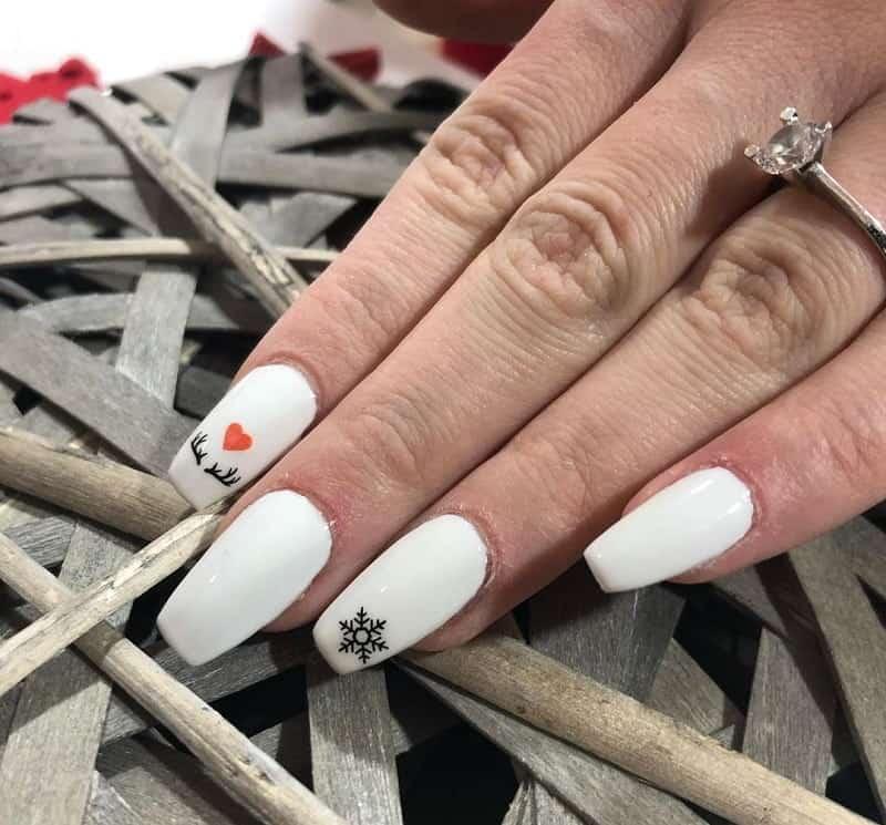 medium white coffin nails