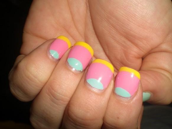 Yellow Edged Pink Pastel nails