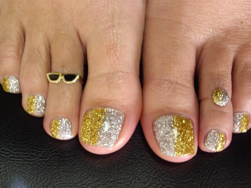Glitery Toe two tone Nails