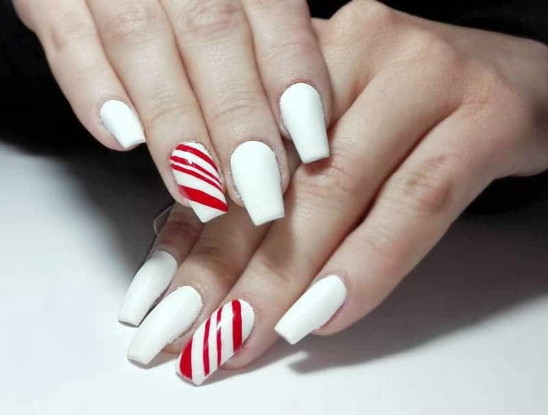 red and white coffin nails