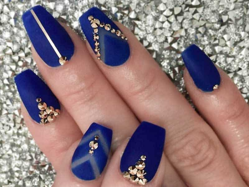 Blue Coffin Nail Design