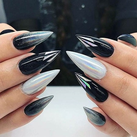 20 black  white stiletto nails to amaze everyone