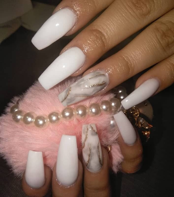 white marble coffin nails