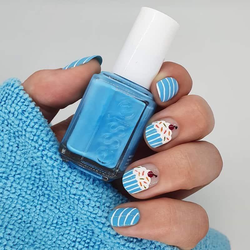 cupcake sky blue nail art