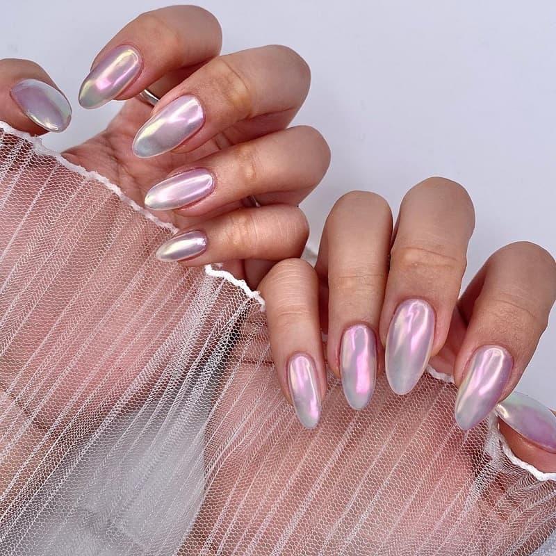 pink mirror nails