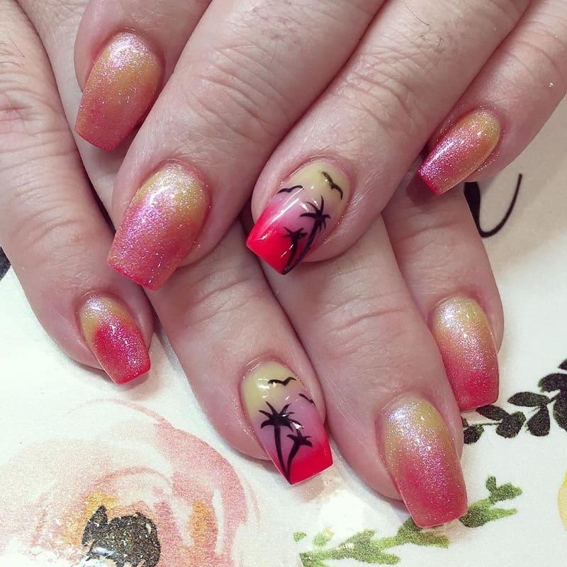 sunset glow nails
