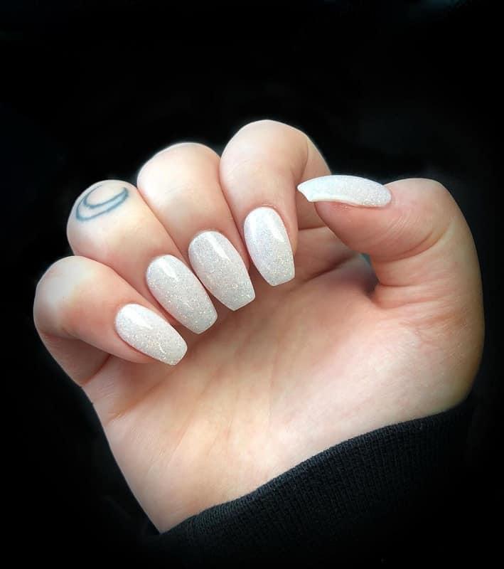 white sparkly shellac nails