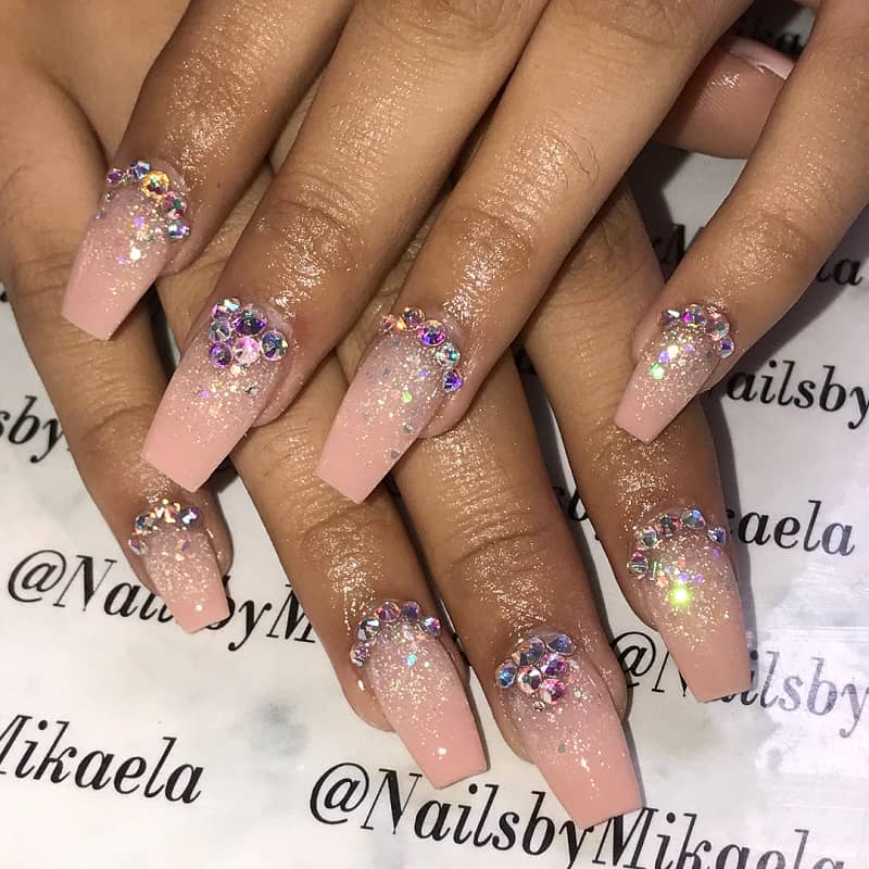 glitter quinceanera nails