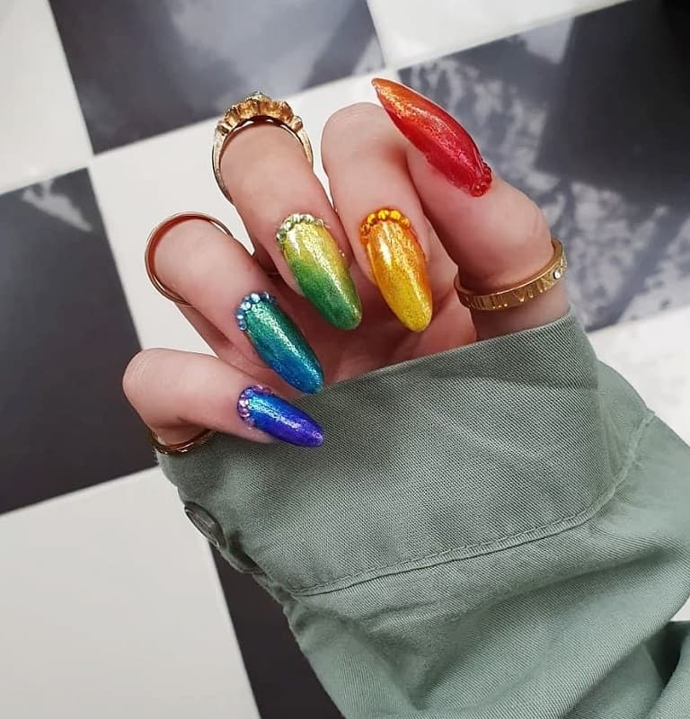 metallic fall nails