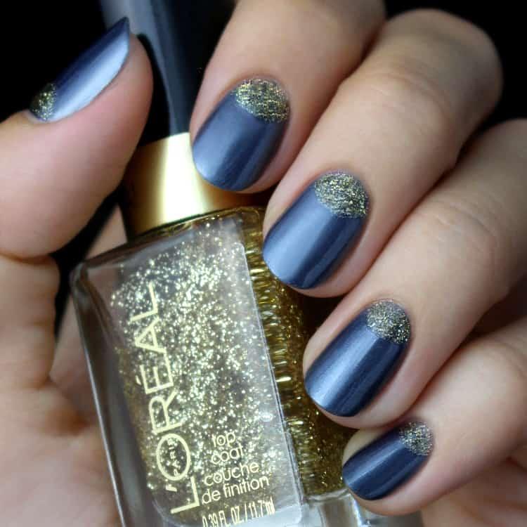 quinceanera glitter half moon nails
