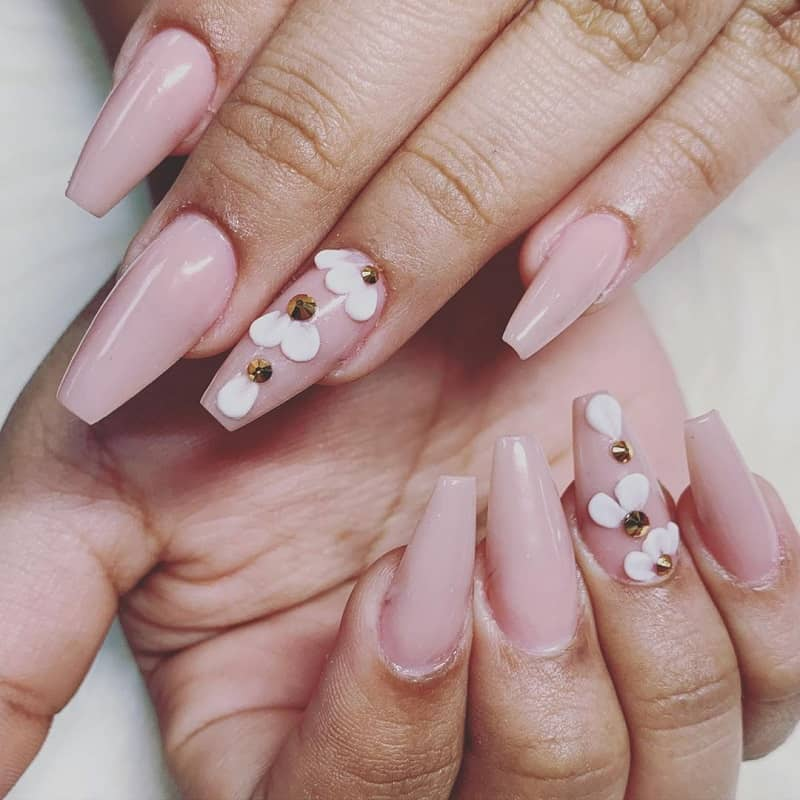 light pink quinceanera nails