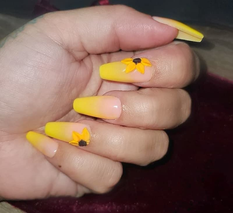 sunflower ombre nails