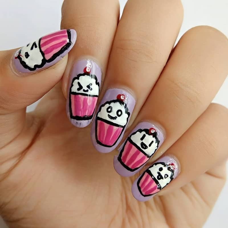 cupcake acrylic nail design