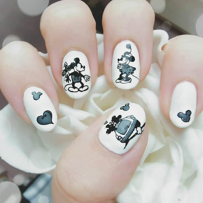 disney stamps nail art
