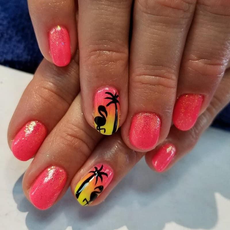 summer sunset nails