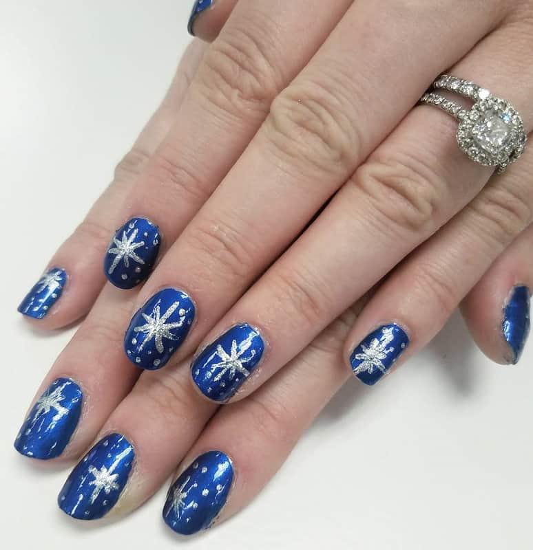 toothpick snowflake nail art