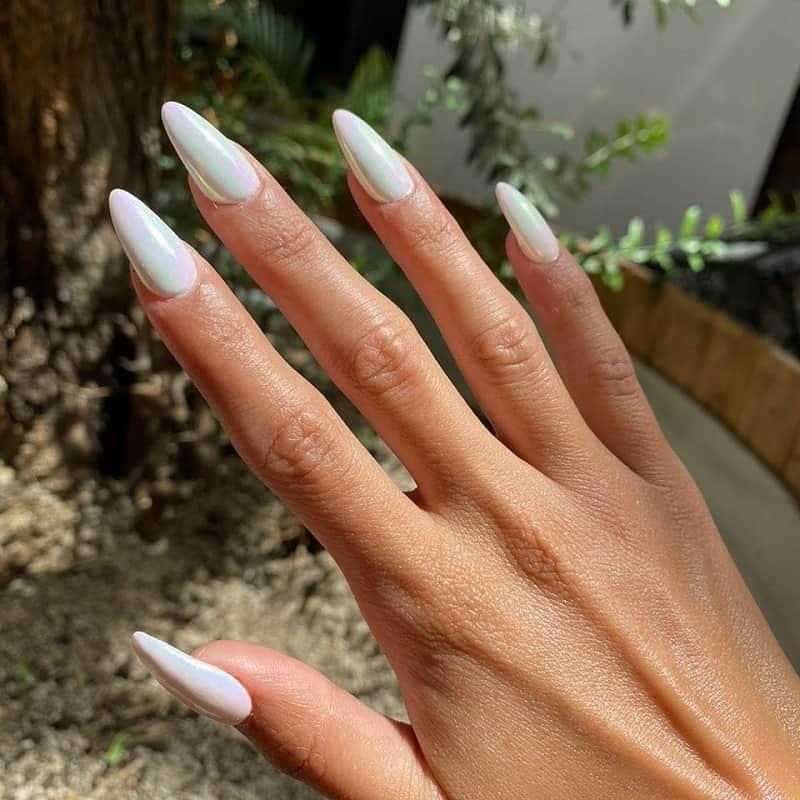 white mirror nails
