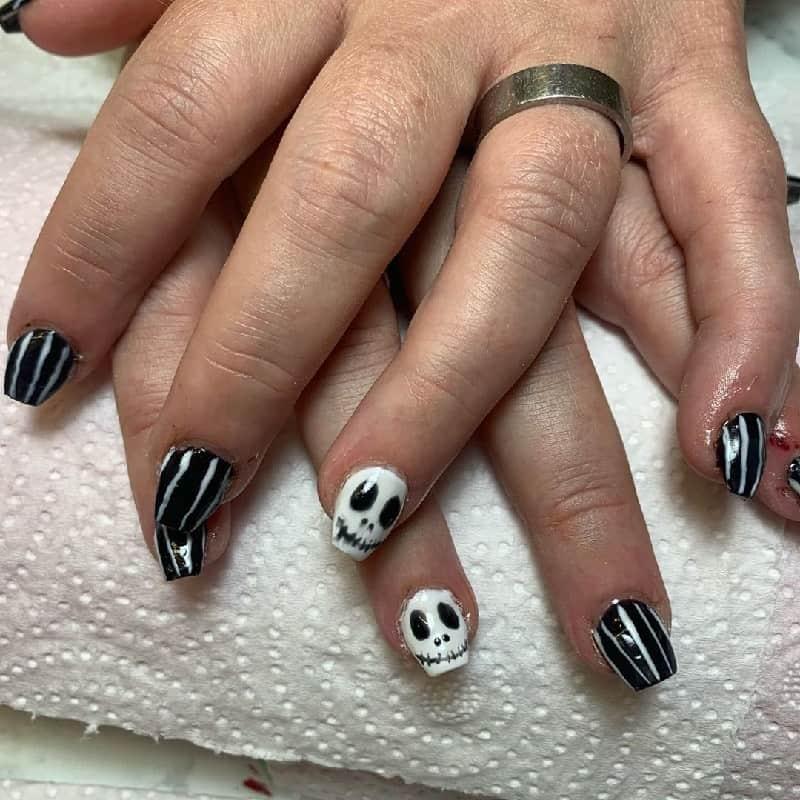 halloween toothpick nail art