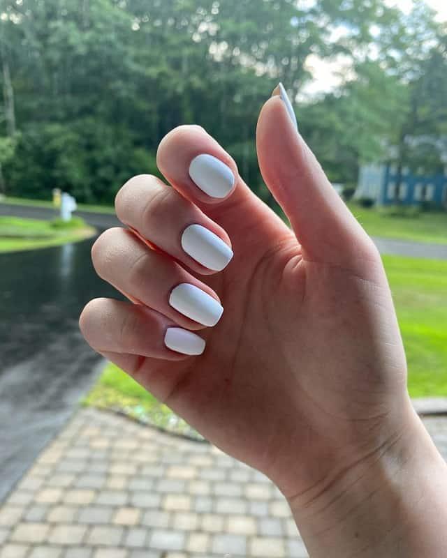 matte white shellac nails