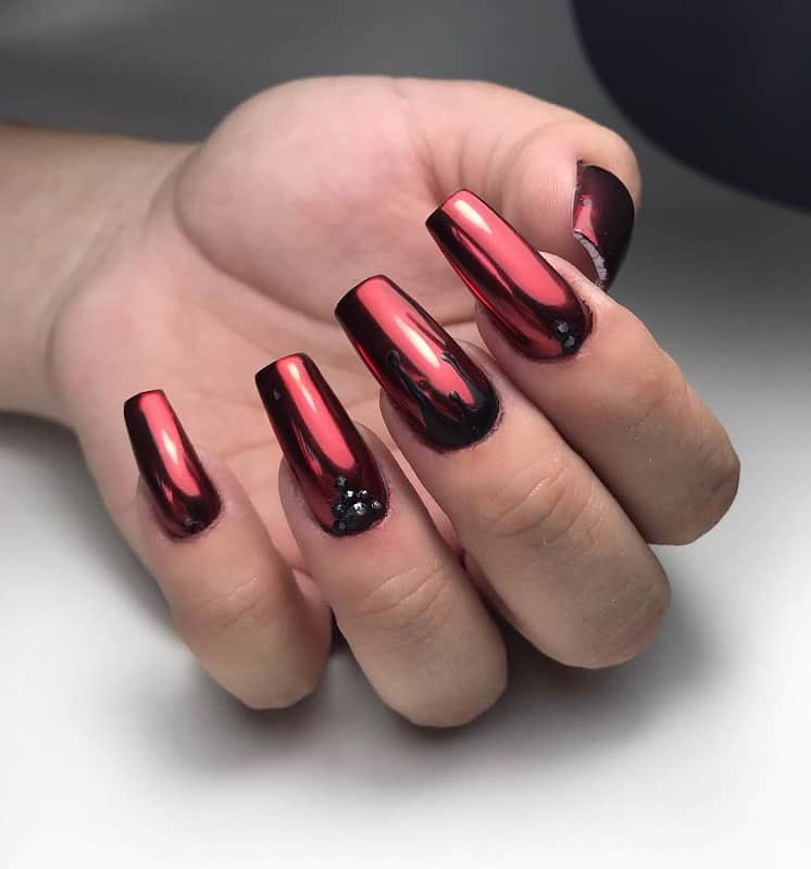metallic red nail designs