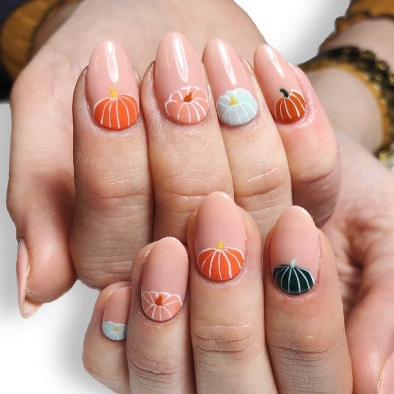 pumpkin gel nails