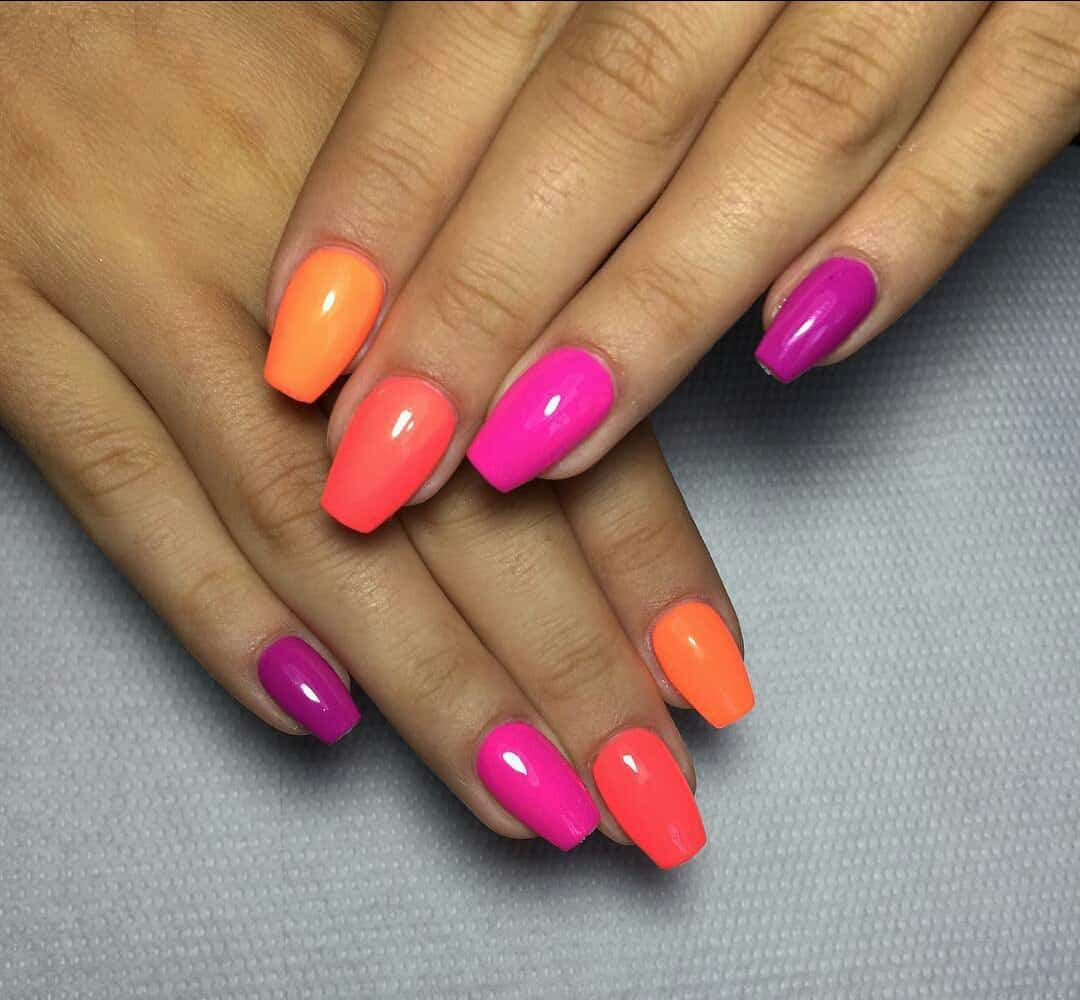 nail stages sunset design