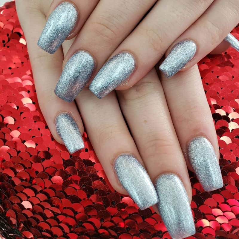 silver quinceanera nails