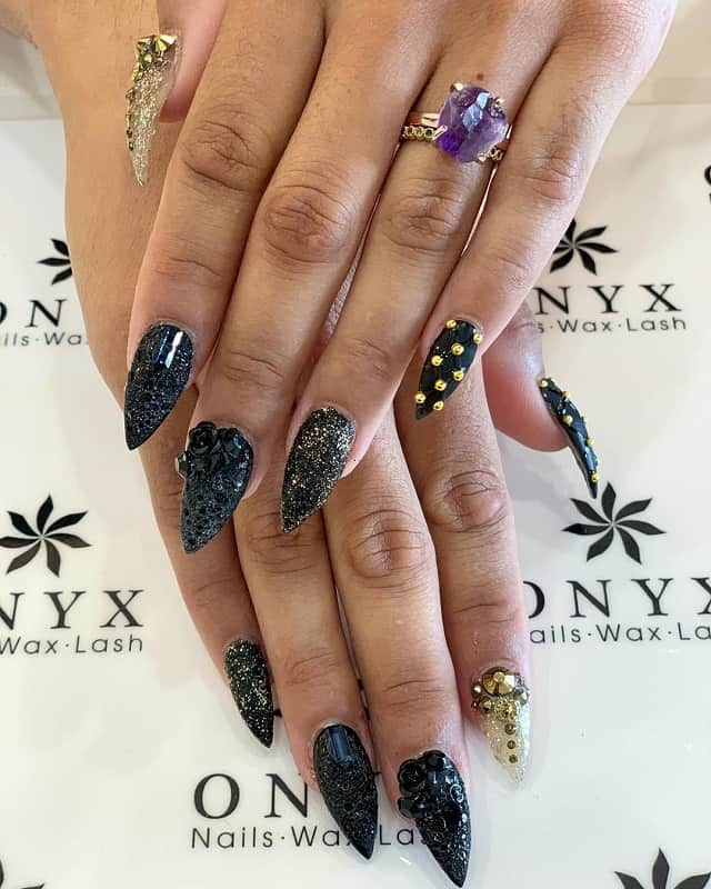 stiletto nails with studs