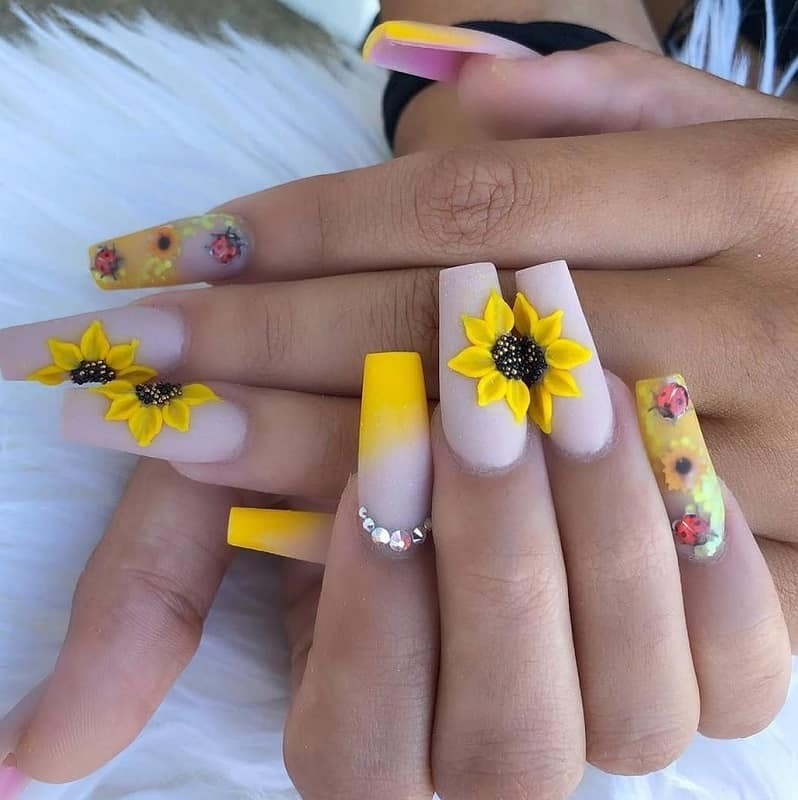 sunflower wedding nails