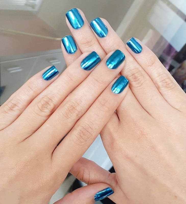 metallic blue nails designs