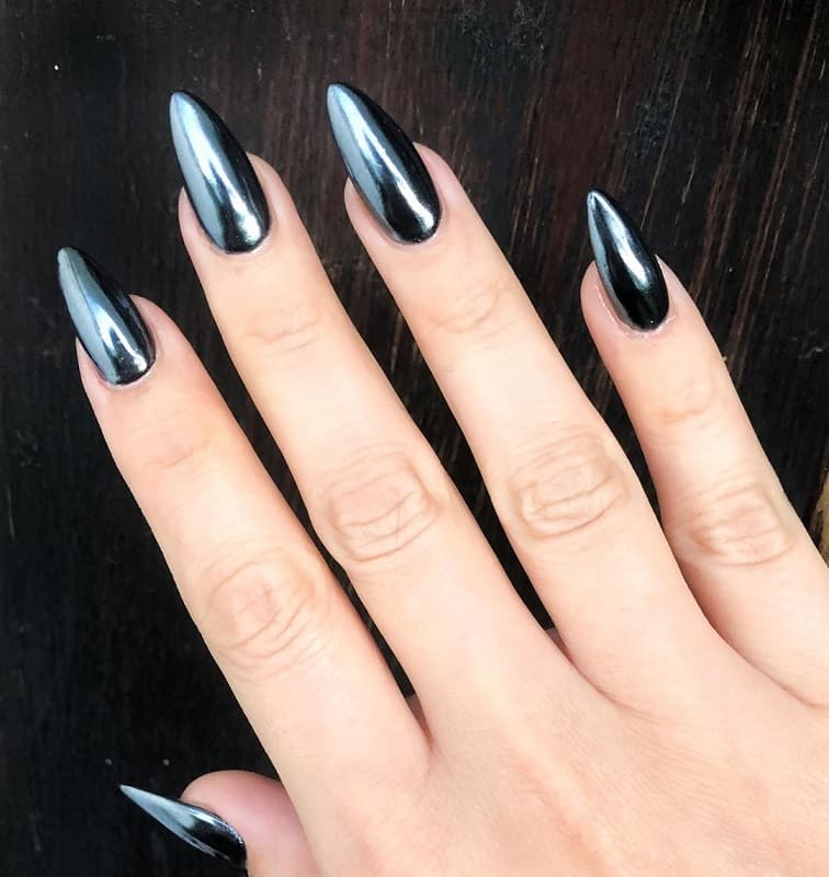 black metallic nails