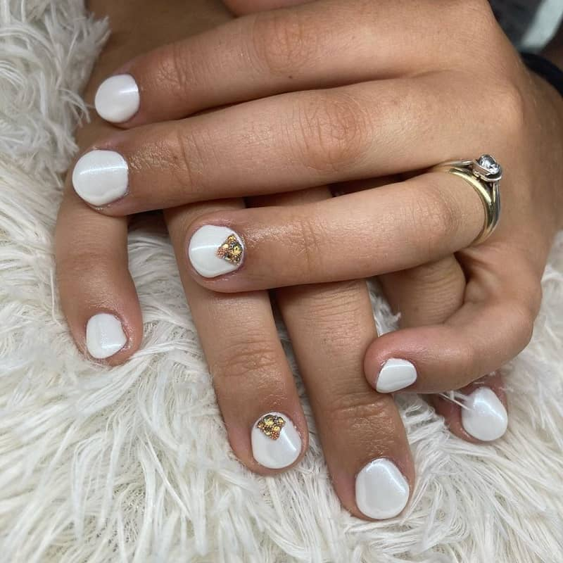 white metallic gel nails