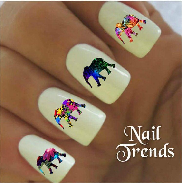 artsy elephant nail design