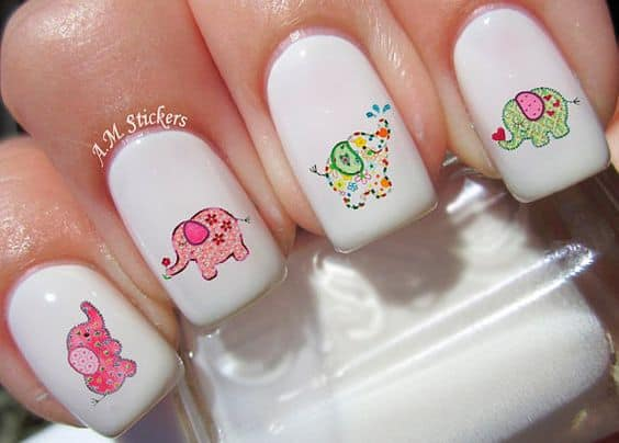Baby Elephants nail design
