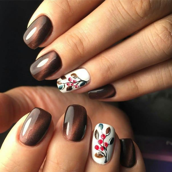 dark chocolate cat eye nails