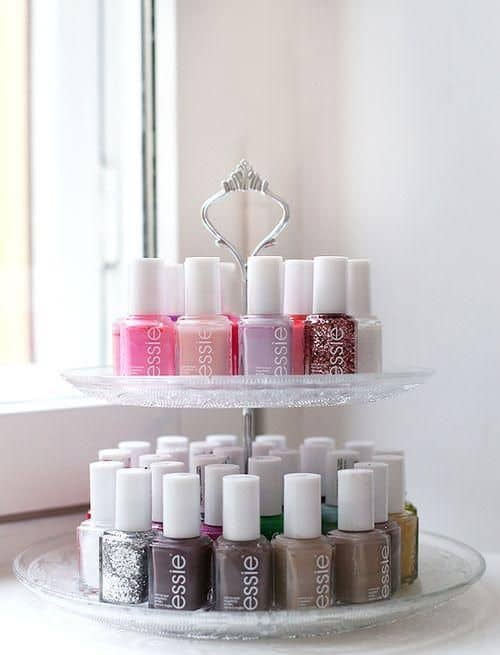elegant tea rack as nail polish holder